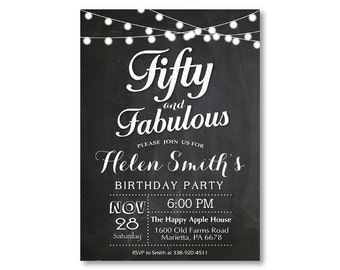 Fifty and fabulous birthday invitation fifty silver and black