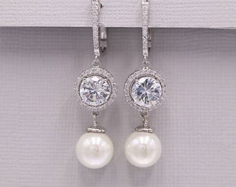 Pearl Bridal Earrings, Pearl CZ Wedding earrings and bracelet, pear cubic zirconia dangle earring, Skyla Pearl Earrings