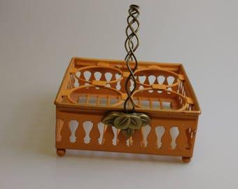 Orange Basket with Handle,  Metal Basket, 1970s, Orange Yellow Brown Era