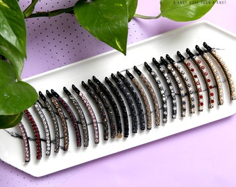 A fine combteeth premium banana barrettes with simple beads/cubics. Make your hair look pretty today [KNOTXKNOT]