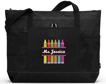 Crayons Teacher Personalized Tote Zippered Embroidered tote Bag With Mesh Pockets, Beach Bag