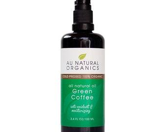 Green Coffee Oil 3.4 oz (100 ml), Coffee Skin Care, Natural Haircare, Natural Skincare