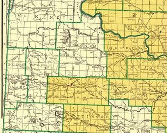 Rare Size Vintage NORTH DAKOTA Map of North Dakota w Railroads 1947 Map RARE Poster Size  Atlas Map Collector Gift For Traveler 7345