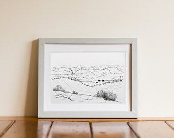 Ireland Hills Pen & Ink Drawing Giclee Print - Loughcrew, Ireland