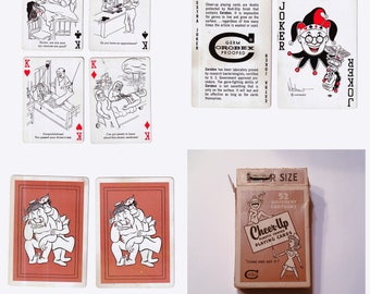 """52 Different CARTOONS Mid Century HUMOROUS """"Cheer-Up"""" Playing Cards / Get Well Deck"""