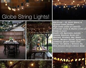 G40 String Lights 25 Globe Bulbs Indoor/Outdoor, Wedding Lights, Patio  Lights,