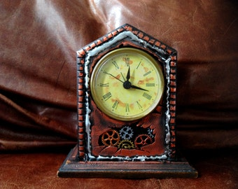 Steampunk Centerpiece Small Clock