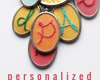 Handwriting Jewelry Personalized Necklace Letter Embroidered Charm. Colorful Coworker Gift for Teen Girls. Name Necklace.Initial Pendant.