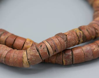 African Pipestone Bauxite Stone Heishi Beads - Vintage 110-14mm Vintage African Trade Beads Boho Ethnic Jewelry Making Supplies