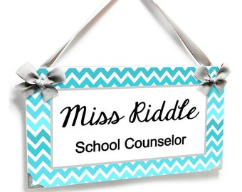 personalized school counselor classroom door sign - teal turquise chevron - P2511