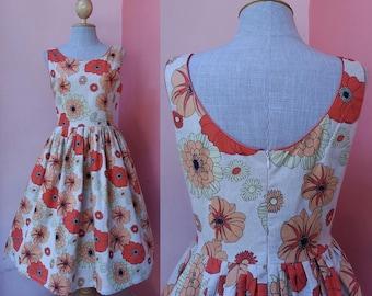 Pin Up Dress Women Rockabilly Dress Retro Dress Vintage Style Dress Floral Dress Flower Dress Cotton Linen Dress Pleated Dress Small Size 4