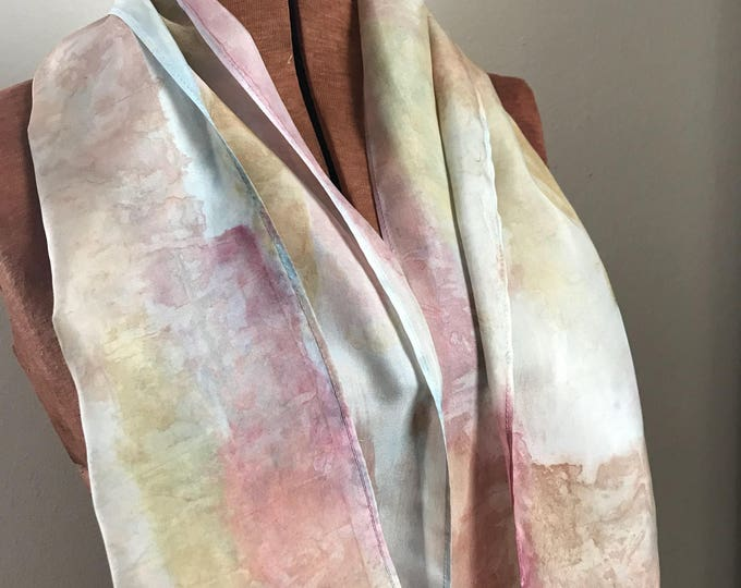 Handpainted naturally dyed silk scarf - unique, one of a kind, plant dyed eco friendly fashion 11