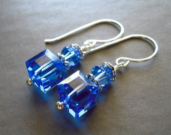 Blue Cube Crystal Earrings, Swarovski Crystal, Cube Earrings, Crystal Earrings, Contemporary Earrings