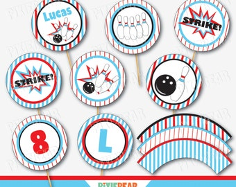 Bowling Cupcake Toppers - Bowling Birthday - Bowling Party - Bowling Cupcake Wrappers - Bowling Decorations - Bowling Printables (Download)