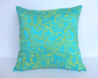 Aqua blue pillow cover with morocco / Marrakesh inspired Yellow embroidery- throw pillow 18inch. Custom made