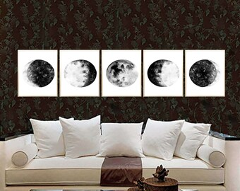Moon Phases Watercolor Art Print Black Moon Phases Set of 5 Lunar Phases Poster Moon Painting Moon wall art Black Moon Phases art decor