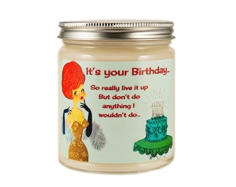 Birthday Soy Candle, Custom Scented Candle, Happy Birthday Candle, Container Candle, Soy Candle, Vintage Birthday Candle, Birthday Gift