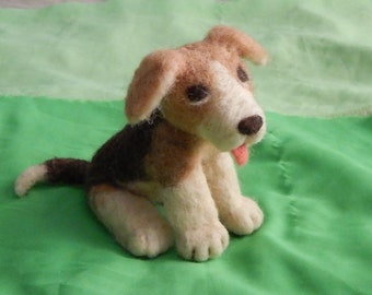 100% wool Needle felted Puppy~ felted Dog~ Waldorf toy