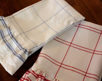 Ruffled Tea Towel - Blue or Red Plaid
