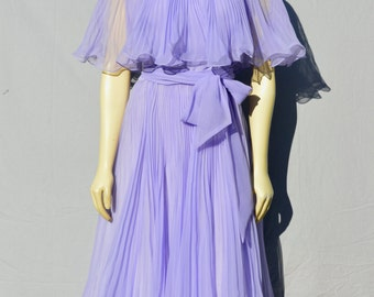 Vintage Miss Elliette lavender 70's polyester dress pleated full skirt cape pleated top size 14 by thekaliman