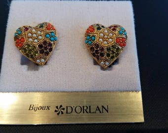 D'Orlan Buried Treasure Signed Heart Clip Earrings, New, Carded
