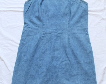 90s XHILARATION 100% Cotton Light Wash Babydoll skater 90s grunge Denim Dress Womens Sz. L