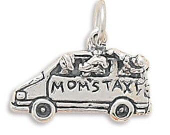 Moms Taxi Charm, Gift Charm For Mom, Birthday Gift for Mom, Love, Family, Appreciation, Transportation, Collectible Charm, Minivan