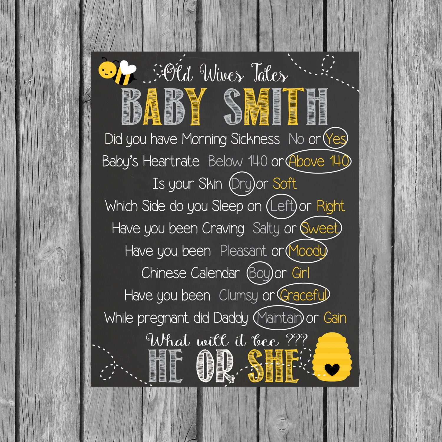 Old Wives Tales Gender Reveal Baby Shower Chalkboard What