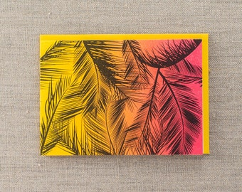 Sunset Palm Letterpress Greeting Card
