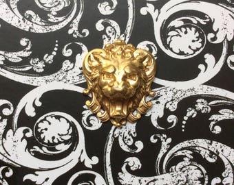 French Brass Vintage Stamping/ Lion Head/Leo Decorative Accent/Pendant/Embellishment/ Appliqué