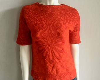 Vintage Women's 50's Catalina, Red Jacquard Top, Scoop Neck, Short Sleeve (S/M)