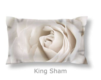 Ivory Pillow Sham-Rose Pillow Sham-Floral Pillow Sham-Standard Pillow Sham-King Pillow Sham-Flower Pillow Cover-Floral Bed Pillow
