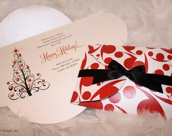 Modern Holidays Greeting Card | Happy Holidays | Christmas Tree | Red | Black