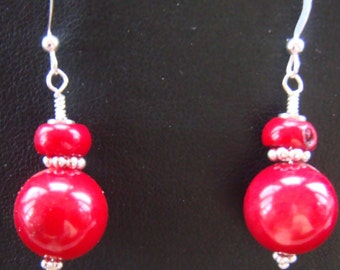 Red Coral and Sterling Silver Pierced Earrings