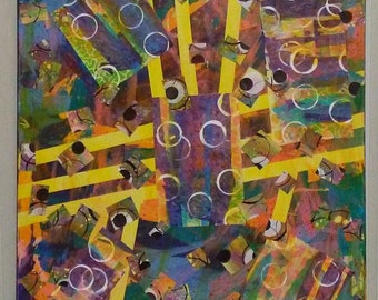 """24"""" X 30"""" Abstract Paper on Canvas Mixed Media Collage by Charles Davis"""