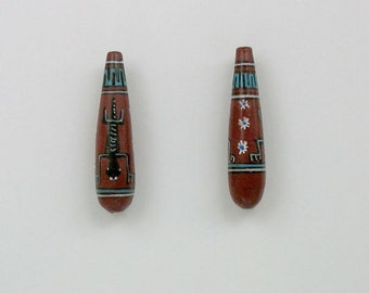 Handmade Ceramic Peruvian Teardrop Shaped Beads, Choice of quantity - 22