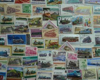 Trains - Lot of Worldwide Postage Stamps for Collectiond, Paper Crafts, Decoupage, Scrapbooking, Jewelry, and More...