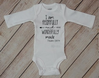 I Am Fearfully and Wonderfully Made. Baby Onesie. Newborn Onesie. Take Home Outfit.