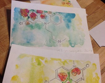 Molecular compound in watercolor and ink. Custom chemical art work for the science lover or medical professional in your life