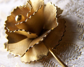 "Vintage 80's  ""SHORT STEM ROSE"" Brooch / Pin"