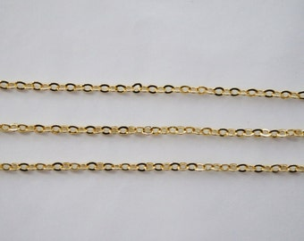 2 Meters, Cable Chain 235SF, 16k Gold Plated Brass Chain,  Basic Fashion Jewelry Chain, Quality Chain