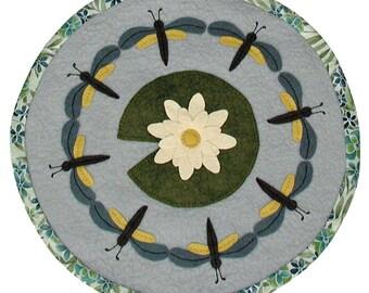 PDF Pattern - Dragonfly Dance 16 inch WoolFelt Table Mat