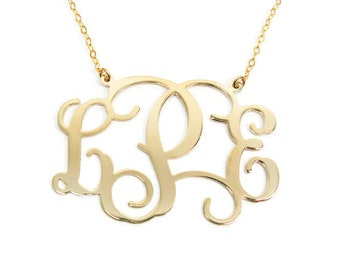 "Monogram Necklace 18k gold plated 1.5"" monogram necklace. Personalized monogram necklace.initial necklace.name necklace"