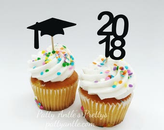 Graduation Cupcake Toppers, 2018 Cupcake Topper, Graduation Cap Cupcake Topper, Mortar Board Cupcake Topper, 12 Ct.