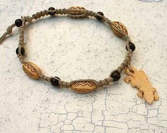 Hemp Flat Necklace With Wood Beads And Bone Lizard