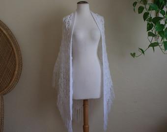 White vintage crochet fringe shawl Stevie nicks