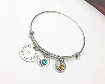 Grandma Bangle Bracelets Birthstone Jewelry For Grandma Mothers Day Gift Grandmother Jewelry Nana Gift Grammy Bracelet Personalized MiMi