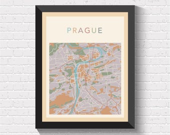 Prague Map, Prague Street Map, Prague City Map, Prague Art, Prague Print, Prague Poster, Prague Map Print, Prague, Czech, Praha, Czehia