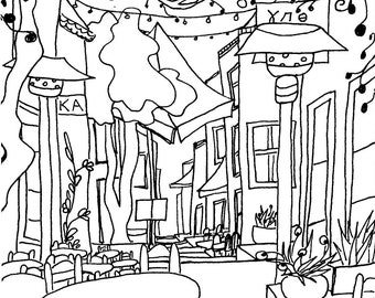 Drawing of Cafe in Athens, Greece