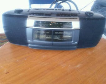 lenox sound dual cassette am/fm boombox